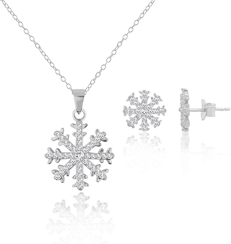 Winter Snowflake Blue Stone with Cubic Zirconia Pendant Earrings Set in 925 Sterling Silver