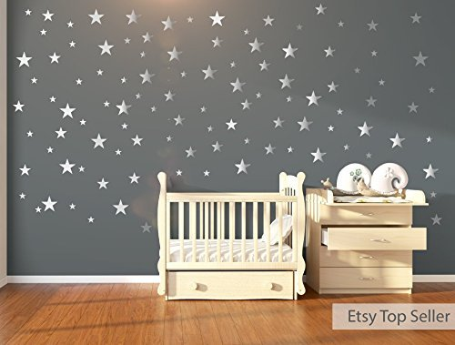 120 silver metallic stars wall stickers wall decals nursery wall