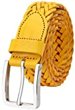 Falari Men's Braided Belt Leather Stainless Steel Buckle 35mm (9007 Yellow, L 38-40)