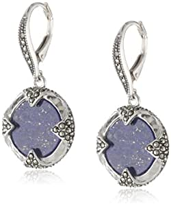 """Judith Jack """"Coins"""" Sterling Silver, Marcasite and Lapis Mini Coin Drop Earrings"""