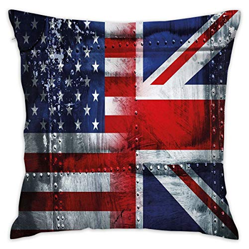 Decorative Throw Pillows Covers with Insert,Alliance Togetherness Theme Composition of UK and USA Flags Vintage,18x18 Inches Square Patio Cushions for Couch Bed Sofa Patio Furniture (Square Furniture Uk Covers Patio)