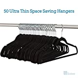 Zober Premium Quality Space Saving Velvet Hangers Strong and Durable Hold Up To 10 Lbs - 360 Degree Chrome Swivel Hook - Ultra Thin Non Slip Suit Hangers, Black (50 Pack)