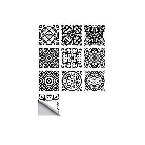 Momangel 10pcs European Style Waterproof Tile Stickers DIY PVC Floor Tile Wall Sticker Black White Decal Art Living Room…