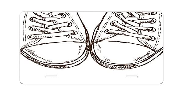 Ambesonne Doodle License Plate, Sneakers in Hand Drawing Style Casual Footwear Teenager Urban Lifestyle Theme, High Gloss Aluminum Novelty Plate, ...
