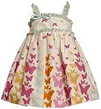 Bonnie Jean Little Girls' Butterfly Print Pleated Neckline Sundress