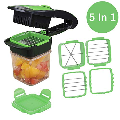 Nicer Dicer Quick, LONGMADA 5 In 1 Vegetables Cutter Fruits Cutter Chopper Slicer Column Egg Cutter Perfect for Kitchen (Green) by LONGMADA (Image #2)
