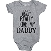 Crazy Dog T-Shirts I Really Really Love My Daddy Cute Fathers Day Creeper Funny Baby Bodysuit (Grey) 6-12 Months