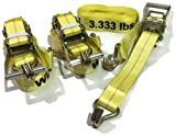 3 Piece Set 15 FT Heavy Duty 2'' Ratchet Tie Down Strap 10000 Lbs J Hook Cargo (by KAS)
