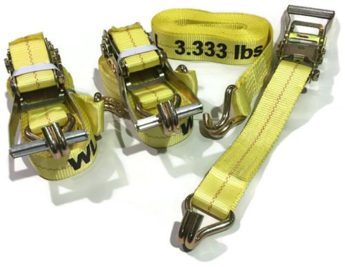 3 Piece Set 15 FT Heavy Duty 2'' Ratchet Tie Down Strap 10000 Lbs J Hook Cargo (by KAS) by KAS