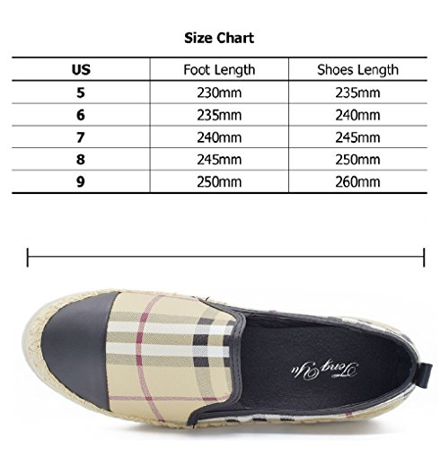 Tengyu Leather Slip On Flat for Womens Fashion Sneakers Plaid Loafers Espadrilles Comfort Driving Holiday Shoes (9 B(M)US/40 EU/25cm, Black) by Tengyu (Image #3)