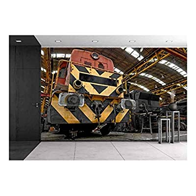 Freight Train Parking in a Garage - Removable Wall Mural | Self-Adhesive Large Wallpaper - 100x144 inches