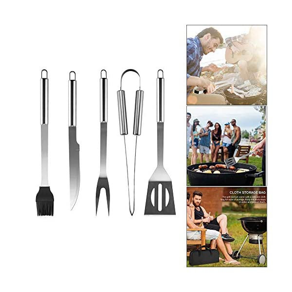 GEVJ BBQ Utensil Camping BBQ Grilling Tools Set Barbecue in Acciaio Inox Accessori per Barbecue Kit di Utensili in… 3 spesavip