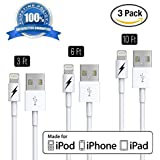 3 FT 6 FT 10 FT iPhone 6 & 7 Charger Cable - Certified Lightning to USB Charging Cord Connector - Durable & Fast - Zeus Guarantee