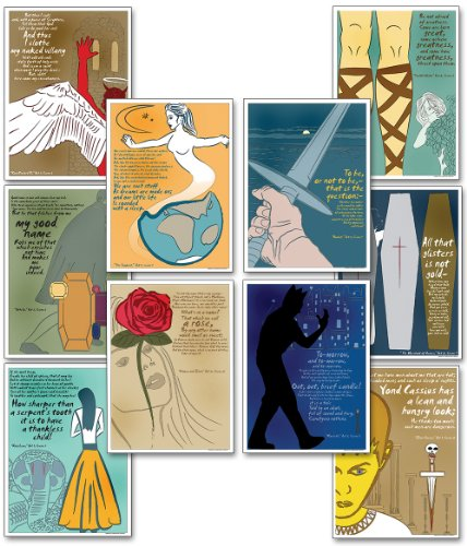 Bulletin Self Esteem Boards (Mini Quotable Shakespeare Educational Poster Set. Eco-friendly, Literary Arts Bulletin Board Set.)