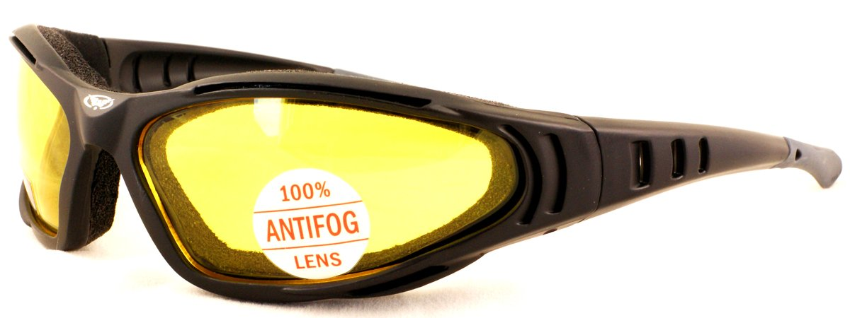 Tinted motorcycle sunglasses with shatterproof antifog lenses and E.V.A lining complete with free pouch.