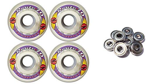 KRYPTONICS ROUTE 70MM 78A CLEAR Longboard Skate Wheels + ABEC 9 BEARINGS by TGM Skateboards