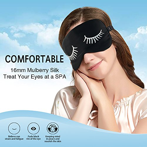 Sleep Mask with Eyelashes,Extra Large 100% Light Block Natural Silk Sleeping Mask,Lightweight and Soft Eye Mask for Night,Nap,Travel,Flight,Adjustable Strap for Men,Women or Kids(Black)