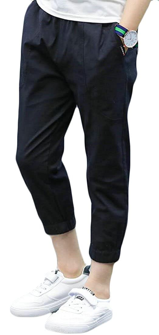 Lutratocro Boys Comfort Ankle Length Open Bottom Linen Solid Color Jogger Pants Pants