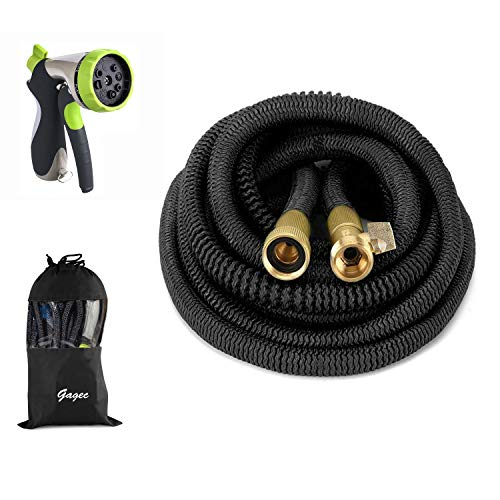 50ft Garden Hose- 2018 New Bronze Connector Expandable Water Hose with Double Latex Core, 3/4″ Solid Brass Fittings, 8 Setting Aluminum Spray Nozzle