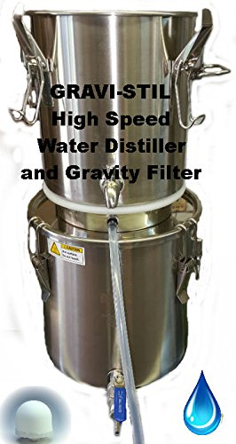 Emergency Survival Water Distiller and Gravity Filter Combination GRAVI-STIL(tm) Auto Fill Feature