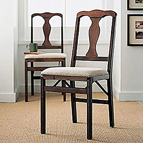 Amazon.com : Queen Ann Folding Chairs, Set of Two : Folding Dining ...