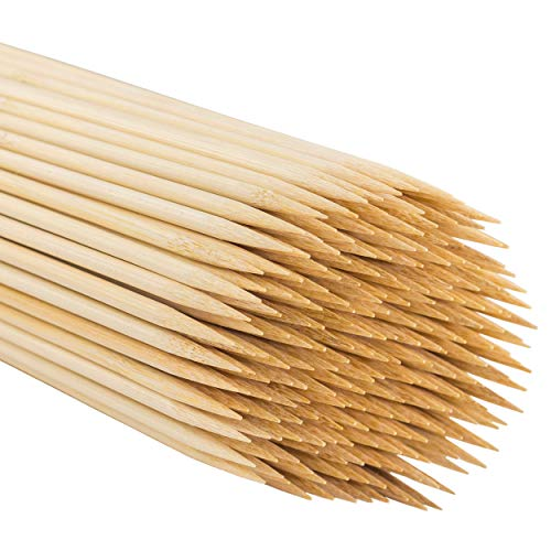 MILEKE Natural BBQ Stick, Strong Bamboo Skewers for Grilling, Φ4.5mm/12 inches Long, Pack of -