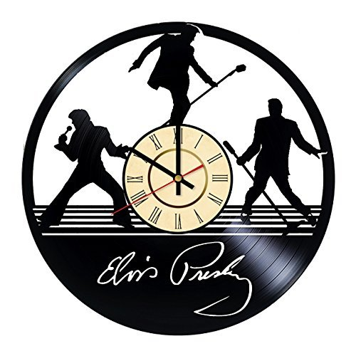 Fun Door Elvis Presley Music Handmade Vinyl Record Wall Clock for Birthday Wedding Anniversary Valentine's Mother's Ideas for Men and Women him and her