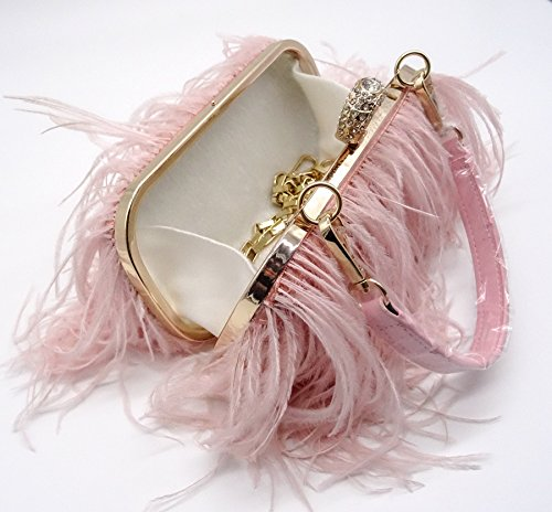 Bag Pink Shoulder Natural Feather Ostrich Real TOOKY Clutch qUzZgU0