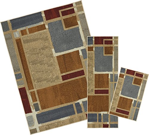 Mohawk Home Soho Regnar Geometric Squares Printed Area Rug Set, Set Contains: 1'6x2'6, 1'8x5' and 5'x7' by Mohawk Home