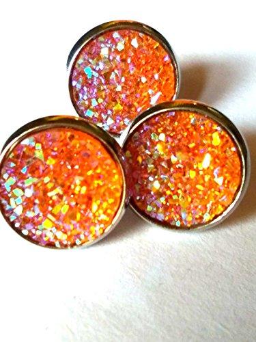 uzy Stud Earrings - Stainless Steel Posts for Sensitive Ears Boho Sparkly Glitter Studs (Orange) ()
