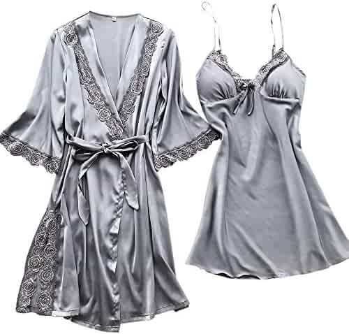 d3eed3d0e0 Shiyingl Women Sexy Silk Satin Robe Camisole Pajama Dress 2 Piece Suit  Sleepwear Nightdress Best Gift