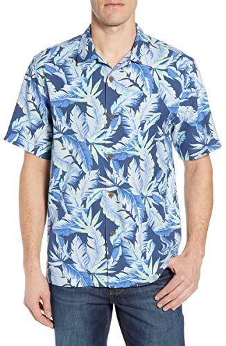 Tommy Bahama Island Zone Break Wave Fronds Silk Blend Camp Shirt (Color: Ocean Deep, Size 3XL)