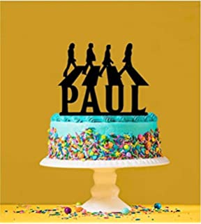 Marvelous Ak Giftshop Personalised The Beatles Cake Topper A Pre Cut Round Funny Birthday Cards Online Alyptdamsfinfo