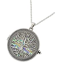 Tree of Life Magnifying Glass Necklace H7 Silver Tone Abalone Shell Long