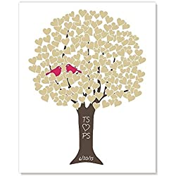 Golden Anniversary Tree Art Print with Monogram, Wedding Date, Your Choice of Colors