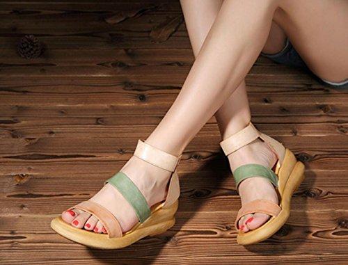 de Tacón Tacón Mano Sandalias Las Cuña Herradura de de del Cuero Zapatos Color Las a de la de Aumentaron Altura Mujeres Hechas Romanos los de 5EqfT0fw