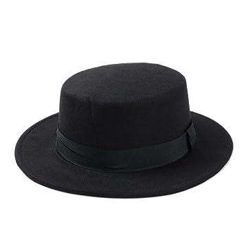 Sombrero de Playa para Mujer, Sombrero Plano, Sombrero de Fieltro Ancho para Sujetar Fedora