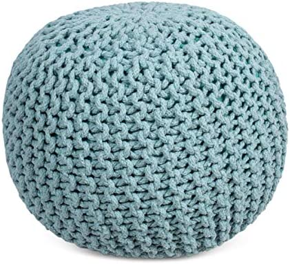 picture of BIRDROCK HOME Round Pouf Foot Stool Ottoman » Knit Bean Bag
