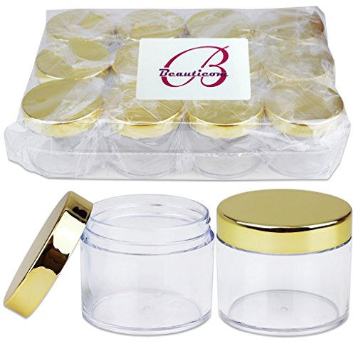 Beauticom 60 Grams/60 ML (2 Oz) Round Clear Leak Proof Plastic Container Jars with Gold Lids for Travel Storage Makeup Cosmetic Lotion Scrubs Creams Oils Salves Ointments