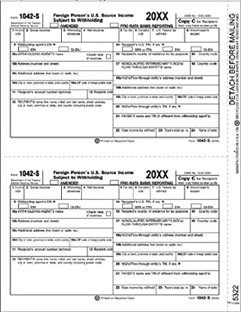 Amazon Egp Irs Approved 1042 S Recipient Copy C Tax Form