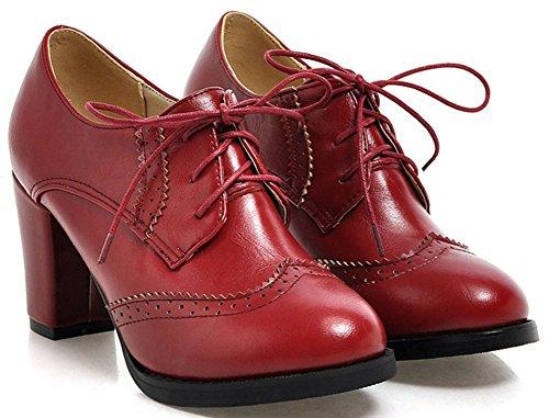 Lacets Bout Aisun Femme Mode Richelieus Rouge Rond U4Iwq