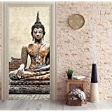 BAIYUDE Mural de la Puerta Estatua de Buda Etiqueta de la Puerta Papel Tapiz 3D Mural Impresión de la Pared Tatuajes de Pared Deco Foto Autoadhesiva Puerta 70x204CM