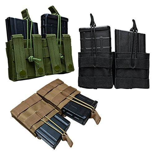 Tactical AR10 M1A FAL .308 7.62X51 Double Magazine Pouch MOLLE Webbing Bungee Cords (Tan)