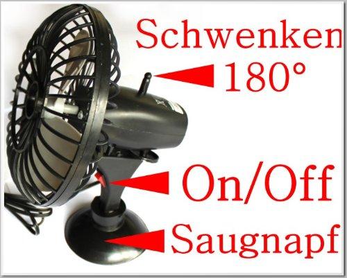 12V Ventilator Schwenkfunktion mit Saugnapf L/üfter Klimaanlage f/ür Zigarettenanz/ünder Ideal f/ür Urlaub Camping Wohnwagen 1