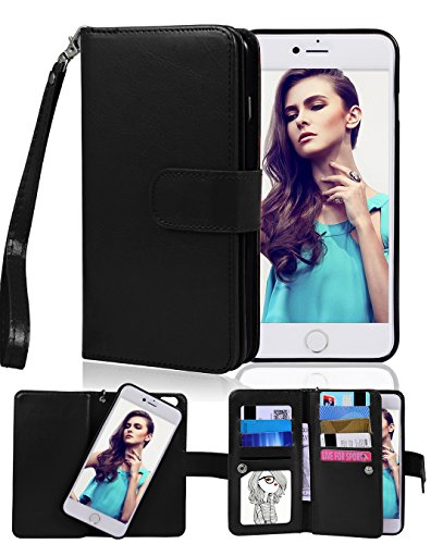 iPhone 6 Case, Crosspace iphone 6s Flip Wallet Case Premium PU Leather 2-in-1 Protective Magnetic Shell with Credit Card Holder/Slots and Wrist Lanyard for Apple Iphone 6/6s 4.7 (Black)