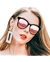 SIPHEW Polarized Sunglasses for Women-Square Oversized Design with UV400 Protection-Womens Mirrored Sunglasses (Black, Rose Gold Mirrored Lens)