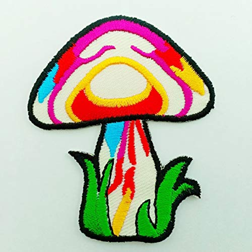 (Mushroom Boho Rainbow Hippie Retro Love Cosmic Peace Weed LSD Shrooms Trance Pot Embroidered Applique Iron-on Patch New)