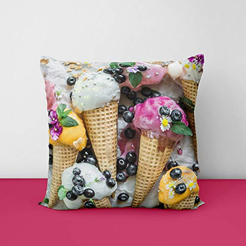 51eFD6gB5rL Summer Ice Cream Square Design Printed Cushion Cover