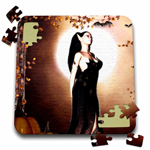 Renderly Yours Autumn And Halloween - Female Vampire With Full Moon - 10x10 Inch Puzzle (pzl_269458_2)