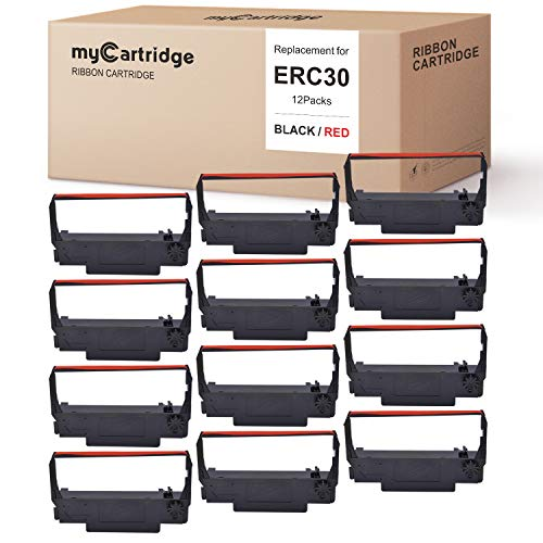 myCartridge ERC30 ERC-30 ERC 30 34 38 B/R Compatible with Ribbon Cartridge for use in ERC38 NK506 (Black Red, 12-Pack)